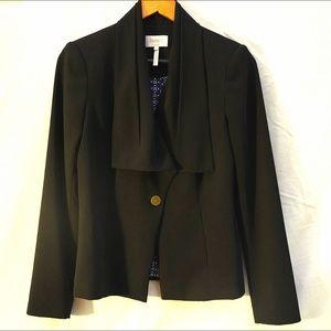 Black Blazer with Draping Collar